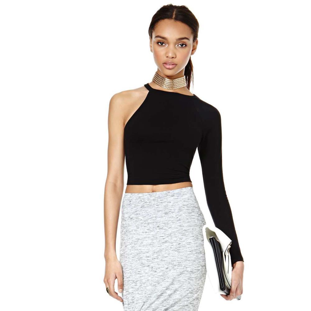3532abd1f91834 Crop top blusas femininas 2016 fashion t shirt women Asymmetric one shoulder  long sleeve black tops Plus size