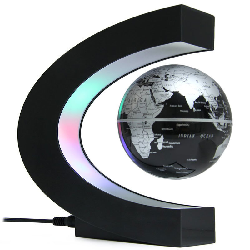 Creative C Shape Magnetic Levitation Floating Globe Rotating Magnetic World Map Colorful ...