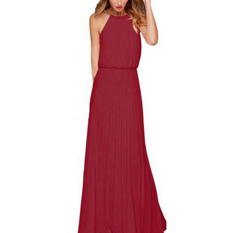 Oioninos Women Summer Sexy Fashion Off The Shoulder Ankel Length Dress Lady Sleeveless Solid Long Club Dresses