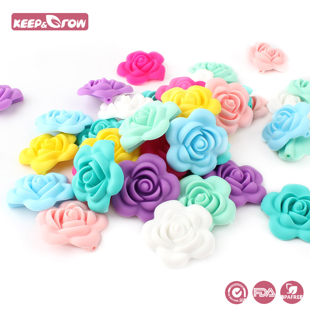 Dental Care Baby Teethers Keep&grow 100pcs Silicone Rose Beads Food Grade Baby Teethers Flower Shaped Baby Teething Toys Diy Pacifier Chain Pendant Sufficient Supply