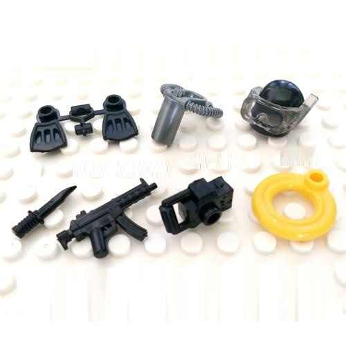 Diving Frogman Equipment Building Blocks Gun Military Weapons accessories City police playmobil SWAT mini figures Original Toys
