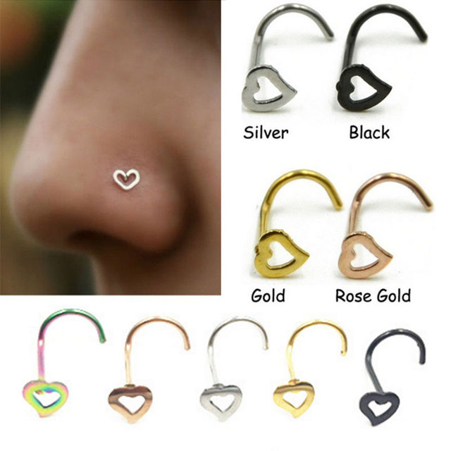 1Pc Stainless Steel Screw Nose Ring With Heart Top L Shape Nose