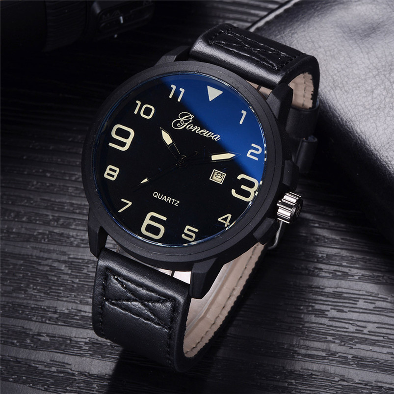 цена на GONEWA Fashion Business Wrist Watch Men Watch 2017 GONEWA Mens Quartz Wrist Watch Analog Date Day Army Sport Leather Luxury