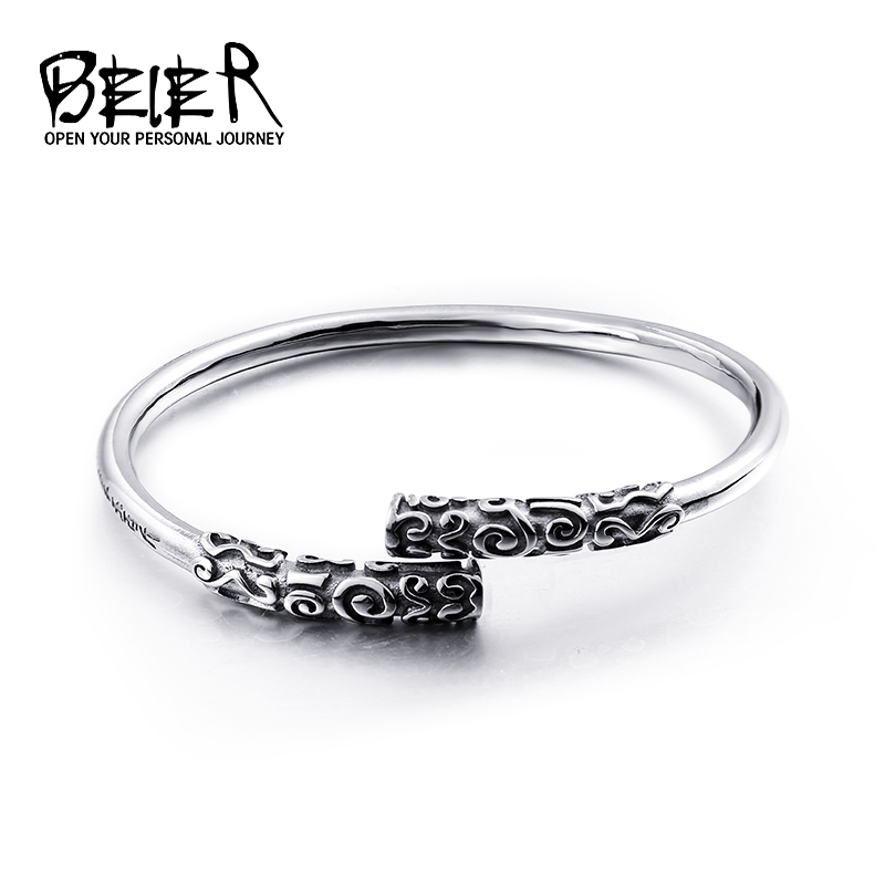 06badd84f31 Online Shop BEIER China Style Luxury Brand Men Vintage Cuff Bracelet  Quality Stainless Steel Bangle Fashion Jewelry BRG-001
