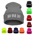 Hot BAD HAIR DAY Winter Knitted Hats Cap Hip Hop Warm Beanies Fashion Winter Unisex Solid Color Free Gift Sent