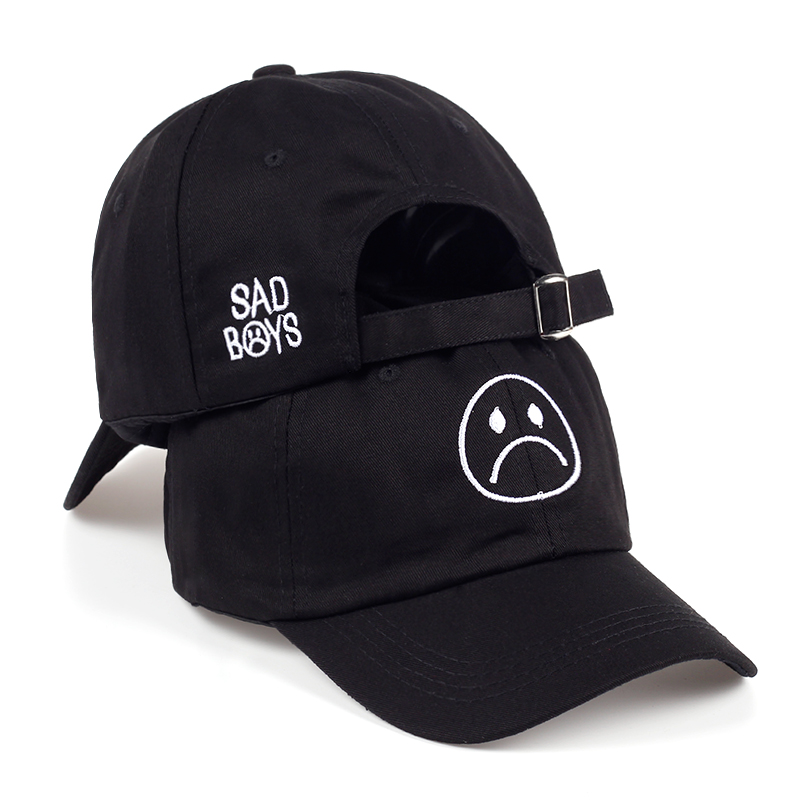 TUNICA Sad Boys Adjustable Hat crying face Baseball cap Hip hop Headwear Black Harajuku Skateboard Hats Curve Brimmed golf Caps