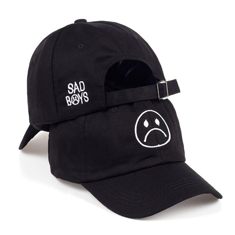 TUNICA triste sombrero ajustable llorando cara gorra de béisbol Hip hop sombreros negro Harajuku monopatín sombreros curva ala gorras de golf