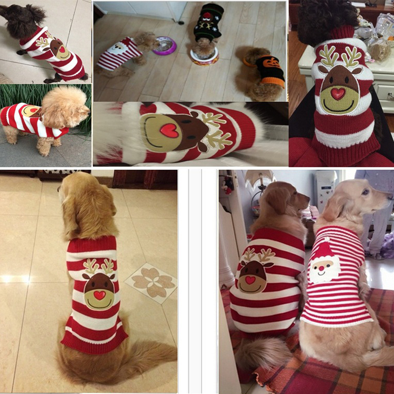 Weihnachten Warme Cartoon Hund Pullover Welpen Katze Kleidung Kleine