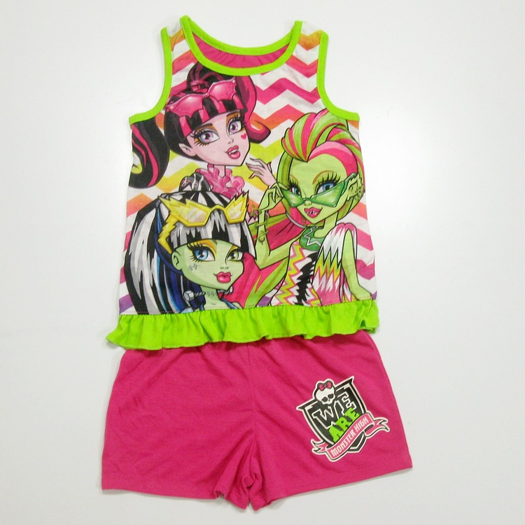 New Summer Monster Girls Clothing Sets Casual Children s Clothing Set Sleeves Children s Girl Casual
