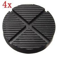 4 X Black Rubber Car Truck Cross Slotted Frame Rail Floor Jack Disk Pad Adapter Tool