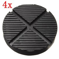4 X Black Rubber Car Truck Cross Slotted Frame Rail Floor Jack Disk Pad Adapter Tool