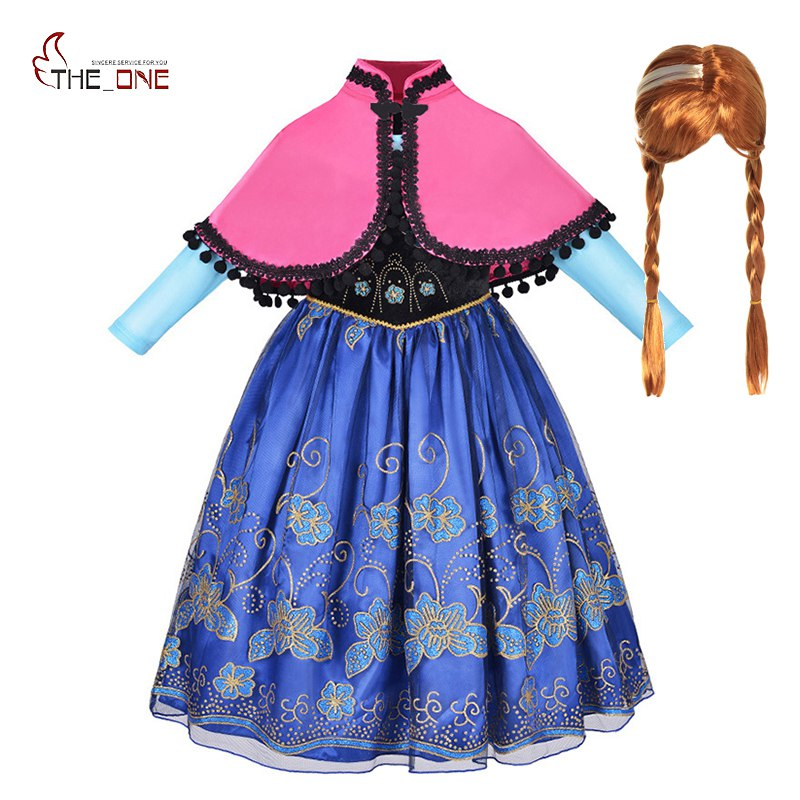 MUABABY Girl Anna Dress up Clothes with Cape Children Long Sleeve Floral Applique Snow Queen Cosplay Costume for Halloween Party
