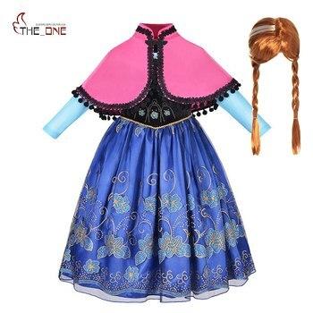 MUABABY fille Anna habiller vêtements avec Cape enfants à manches longues Floral Applique reine des neiges Cosplay Costume pour fête d'halloween