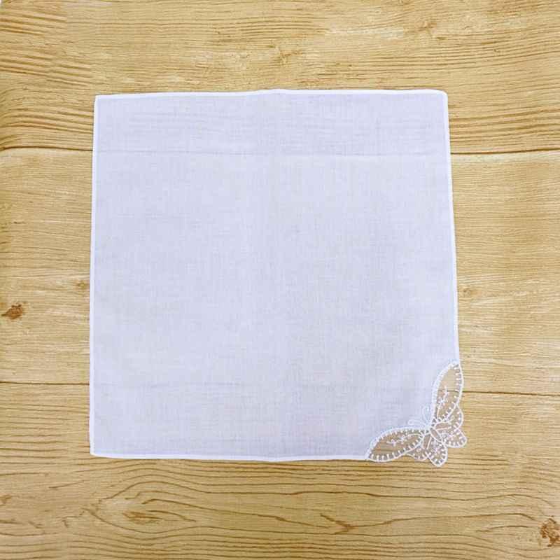 28x28 centimetri di trasporto Delle Donne Plain White Fazzoletti Quadrati Crochet Farfalla Angolo Del Merletto Da Sposa di Nozze FAI DA TE di Cotone Tovagliolo Fazzoletto da Tasca asciugamano