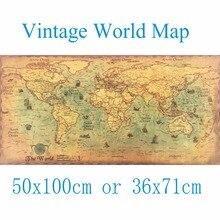 50X100CM gran mapa del mundo Vintage Kraft de pintura de papel etiqueta de la pared cartel Arte de sala de estar de los mapas bar Café Pub casa Decoración