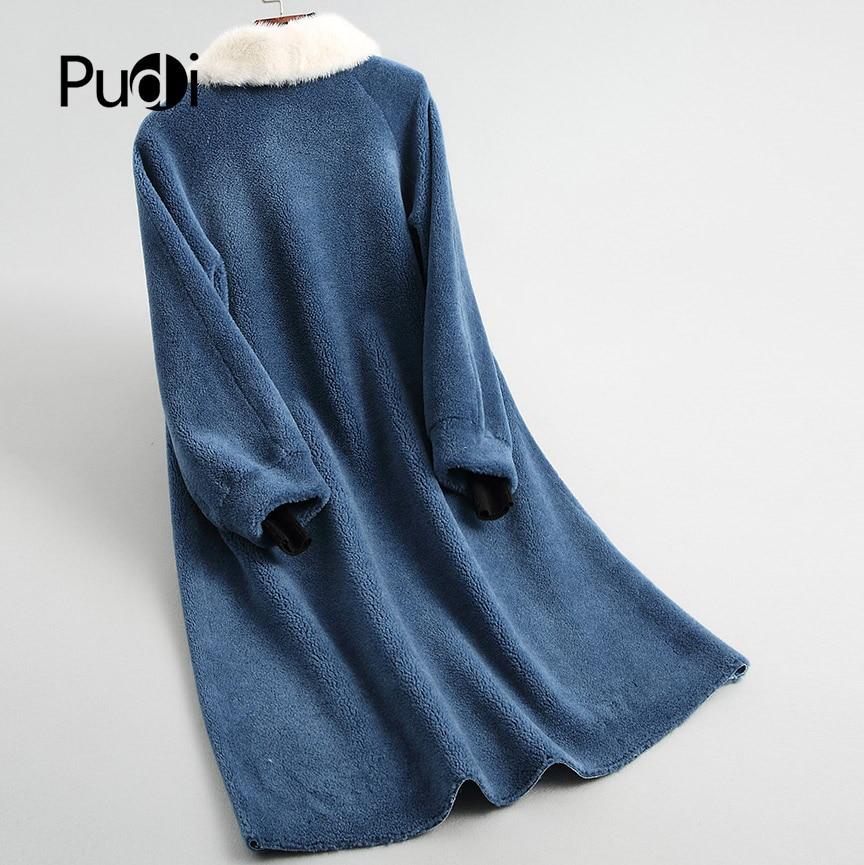 De Femmes Blue Hiver Fourrure Fille Dame Pudi Vison Pardessus A18139 Longue yellow Manteau Réel Laine Chaud Veste 3LqA54Rcj