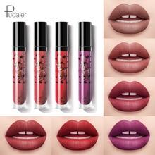Pudaier 1set 6 colors small black grain lip glaze matte velvet gloss no fading lipstick liquid set fashion makeup