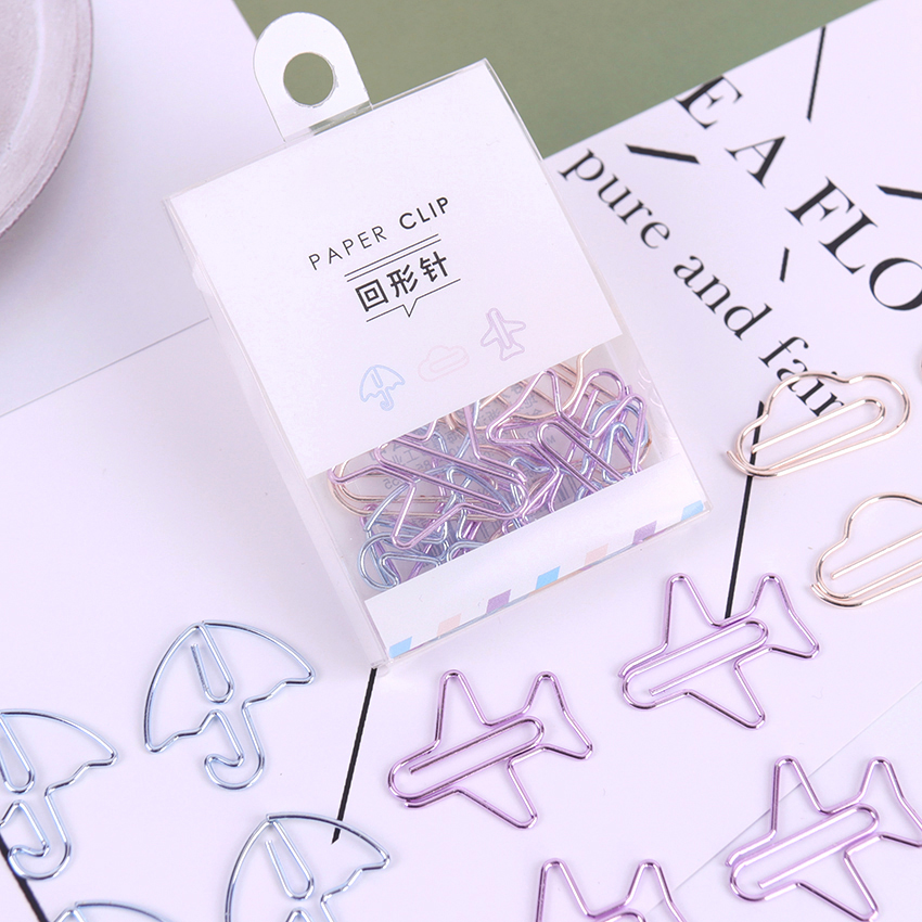 12PCS/lot Cartoon Shape Mini Paper Clips Kawaii Stationery Clear Binder Clips Photos Tickets Notes Letter Paper Clip Stationery