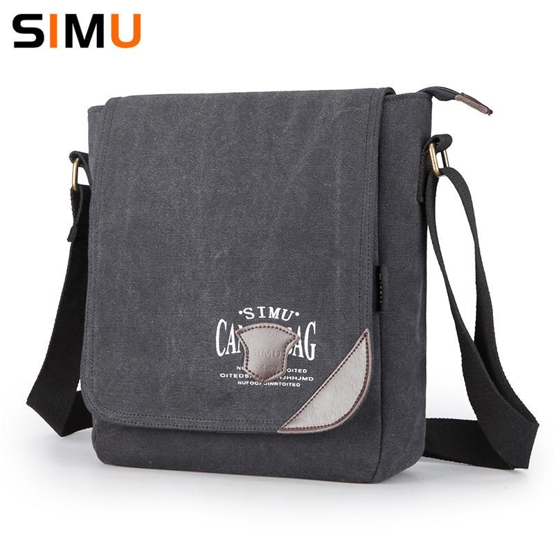b60856e1695c Simu Canvas Man Bag Famous Designer Vintage Male Single Shoulder Bag  Messenger Bags School Crossbody Bag 2017 25 9 30cm