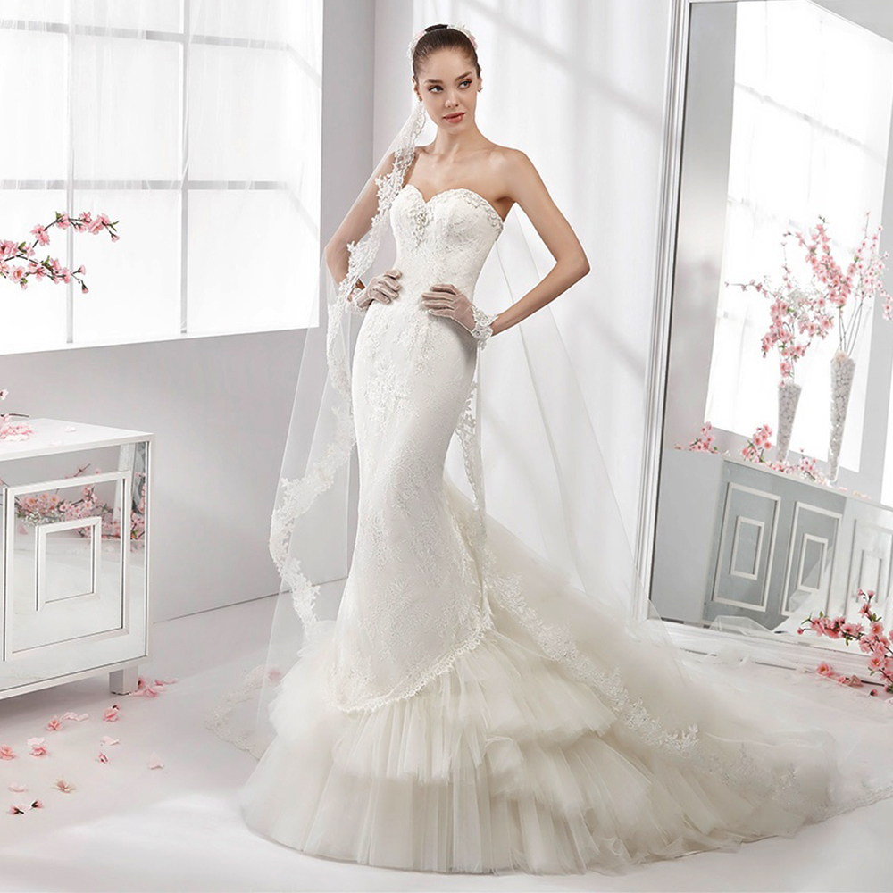 Rivini Lace Tiered Wedding Gown: New Custom Made Hot Sale Mermaid Bridal Gown Sweetheart