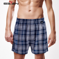 Seven7 Brand Men Casual Shorts 100 Cotton Classic Plaid Shorts Half Length Pants Comfortable Men Home
