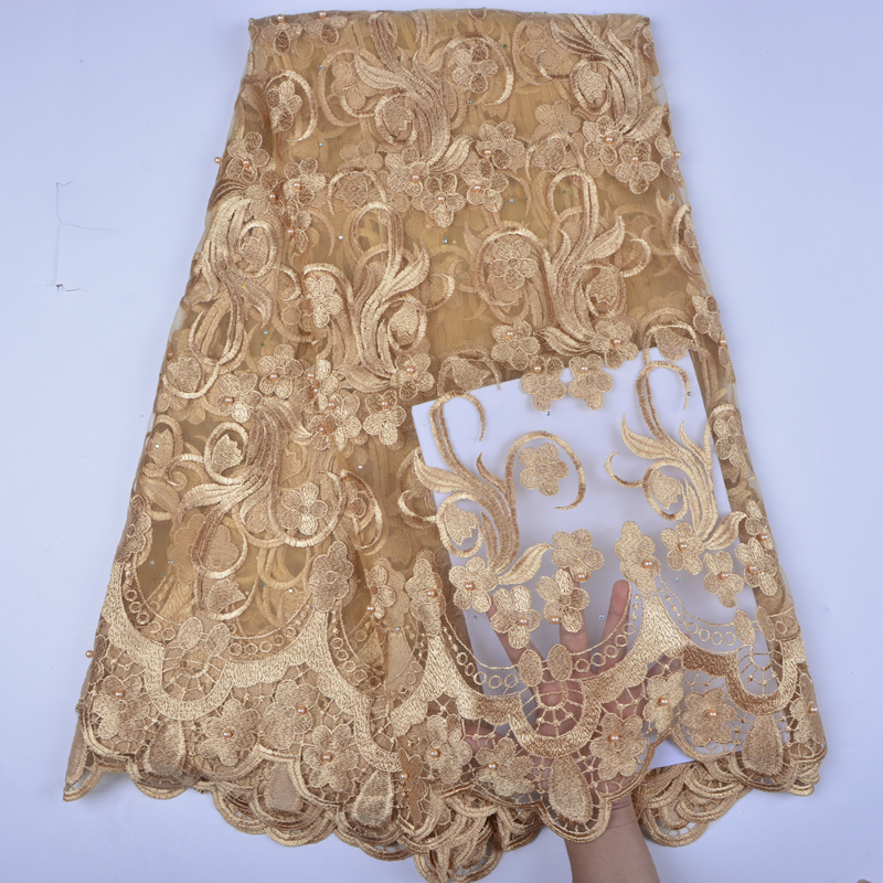 Gold Color Nigerian French Lace Fabrics 2018 African Tulle Lace Fabric High Quality African Lace Wedding