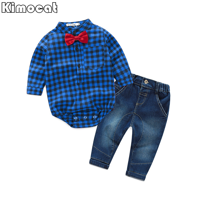 Infant Newborn Baby Boy Boy Clothes Long SleeveB Gentleman Rompers +pants Suit Kids Boy Clothing Set kids clothes 21