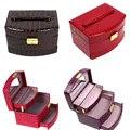 Роскошный PU Кожа Ювелирные Изделия Подарочная Коробка 3 Слоя Ювелирные Изделия Дисплей Коробка Для Хранения Случай Организатор Макияж Мешок Косметический OR870777