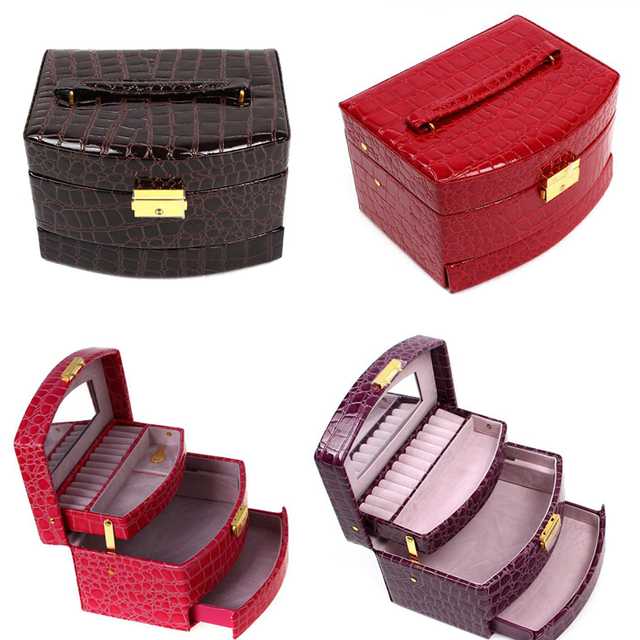 Luxury PU Leather Jewelry Gift Box 3 Layers Jewellery Display Storage Box Packaging Case Organizer Makeup Bag Cosmetic OR870777