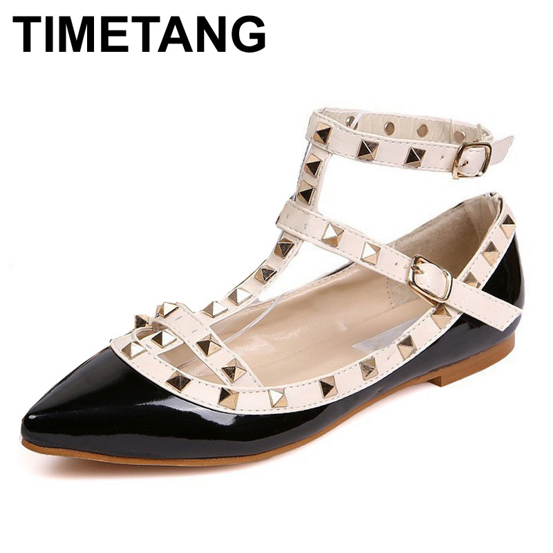 TIMETANG Women Rivet Flats Shoes Metal Ankle Strap Women Point Toe Rivets Studded Ballerinas Size T