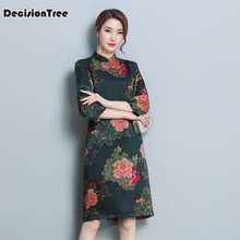 2019 women elegant retro chinese traditional dress silk cotton cheongsam female lady wedding casual design qipao
