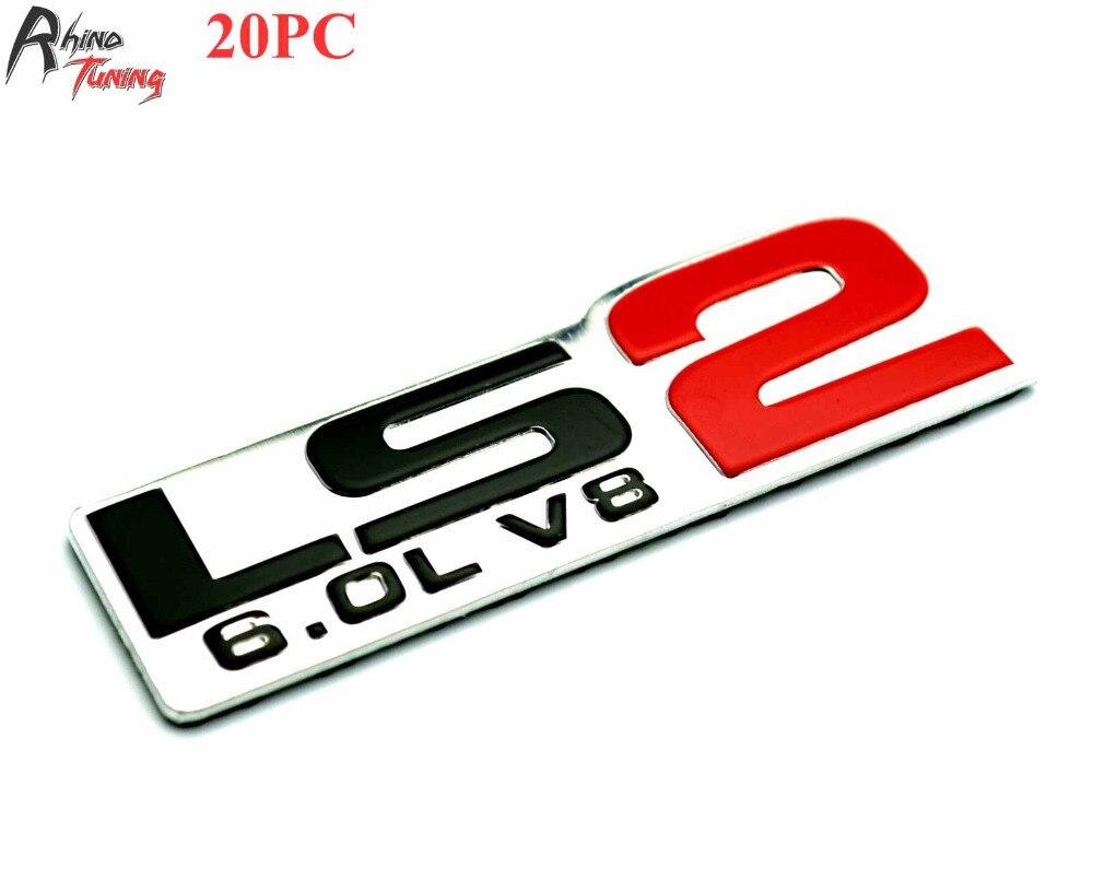 Badak tuning 20 pc partai besar ls2 6 0l v8 lencana aluminium emblem mobil stiker auto styling decal untuk corvette camaro 562 di mobil stiker dari mobil