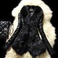 2016 Зимняя Мода Искусственного Меха Пальто Женщин Тонкий Черный искусственного дубленка Короткие Искусственной Кожи Куртка манто Fourrure femme S-3XL