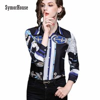 SymorHouse New Spring Blusa Chiffon Blouse Long Sleeve Women Tops Turn Down Collar Printing Blouses Female