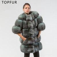 Топ мех натуральный натуральным лисьим Меховая куртка зима натуральный мех пальто для Для женщин толстый теплая верхняя одежда модные длин