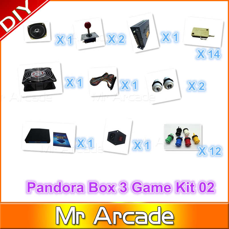 Jamma Arcade kit with original pandora box 3 game 520 in1 game board ,joystick ,Buttons ,fan, switch,power supply arcade joystick gamepad kit 800 games in 1 video tv jamma 2 joystick vga hidmi metal double stick arcade console with 2players