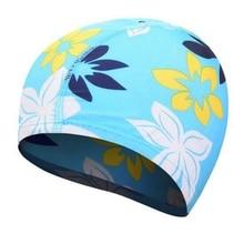 Новая Водонепроницаемая шапка для плавания с цветочным принтом, защищающие уши, длинные волосы, шапочка для бассейна для взрослых и детей, шапочка для бассейна