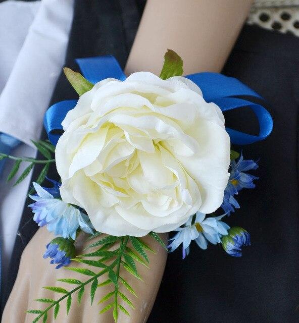 5Pcs Lot Handmade Wedding Mother Bride Bridesmaid Hand Wrist Flower Women  Corsage Silk Rose Artificial Flowers Wedding Supplies a675bb780d53