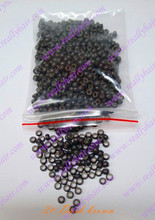 1000pcs Dark brown silicone micro nano bead with silicone line for Nano Hair Extensions tool kit