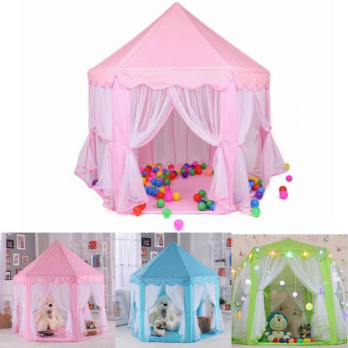 Enfants tentes hexagone Playhouse dormir dôme intérieur extérieur filles château tipi grande tente de jeu enfants bébé jouets maison balle piscine