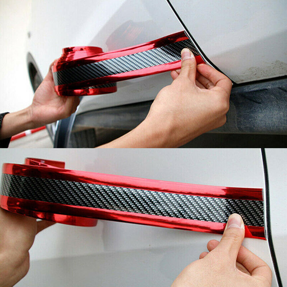 4pcs Car Sticker Carbon Fiber Rubber Edge Guard Strip Door Plate Sill Protector