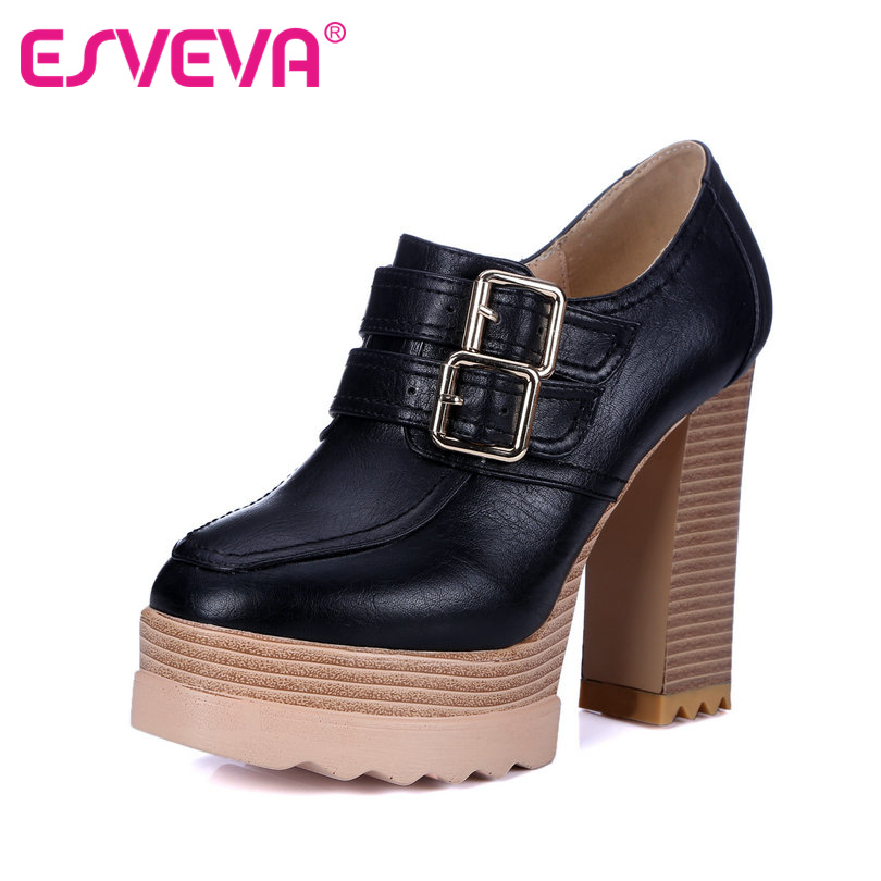 ESVEVA  Pu Soft Leather Women Pumps Buckle Strap Platform Square Super High Heels Spring/Autumn Miss Party Shoes Round Toe Black xexy small square toe medium heels natural leather women shoe spring autumn buckle strap dance party sweet platform women pumps