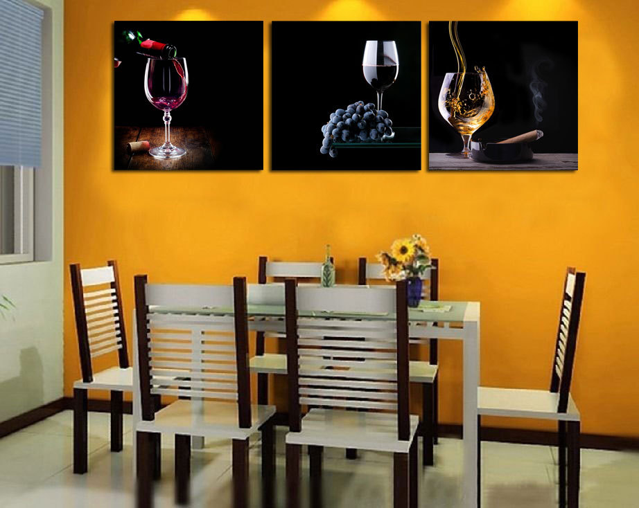 US $16.66 51% OFF HD Printed Art Deco Modern Abstract Wall Art Painting On  Canvas with Delicious red wine feast grape kitchen decor with No Frame-in  ...