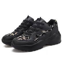 Women Black Shoe Hot New Autumn Winter Leopard Print Thick Sole Walking Shoes Ladies Femal Jogging Sneaker Fashion Tide Big Size