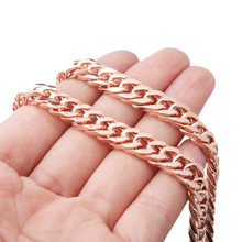 Polished Men's Womens necklace Stainless Steel 6/8/10MM Rose Gold Cuban Curb Double Link Chain Necklace or Bracelet 7-32'' high polished 6 number spring chain bracelet