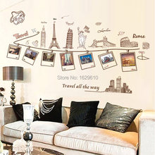 60*90cm  Travel Photo Wall Sticker Chic Family Photos Frame Picture Wall Stickers PVC Vinyl Art Decal Poster Home Decor Supplies