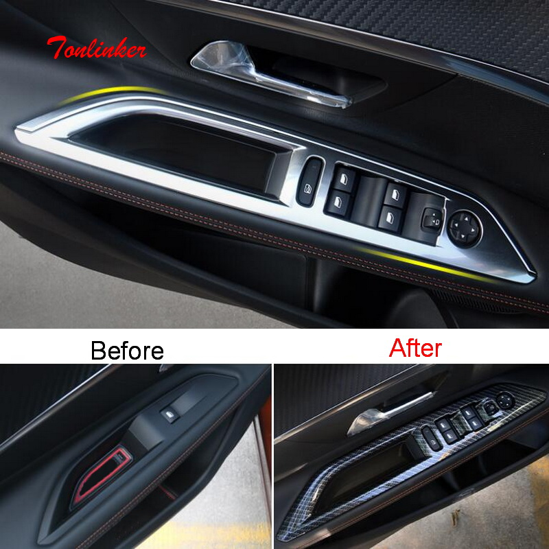 Tonlinker Interior Windows Control Cover Sticker For Peugeot 3008/4008 2017-19 Car Styling 4 PCS Stainless Steel Cover Sticker