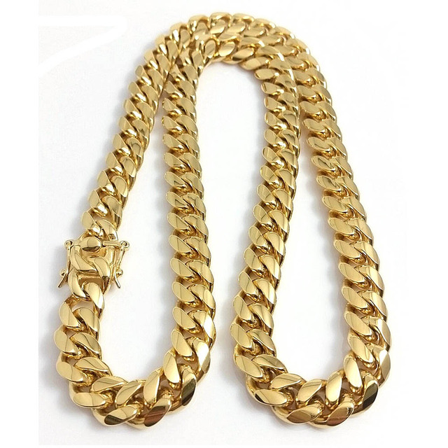 Stainless Steel Jewelry High Polished Cuban Link Necklace For Men Punk Curb Chain Dragon-Beard Clasp 61cm*15mm