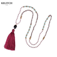 KELITCH Jewelry Newest Handmade Mexican Necklace Red Tassel Crystal Beaded Strand Pendant Necklace For Beach Travel