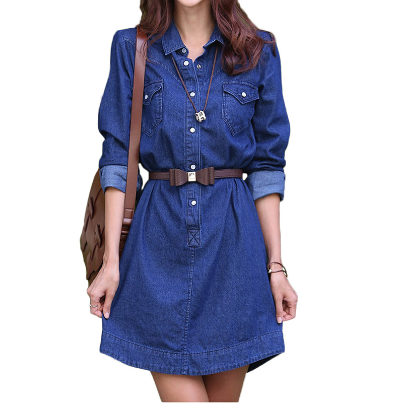 Loose A-Line Denim Dresses For Women Sex Casual Mini Summer Dress Shirt Female Denim Dresses Women